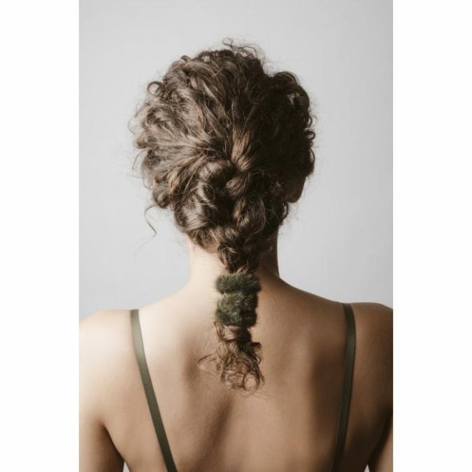füzy FUR szőrme hajgumi, szín: green, mohazöld
