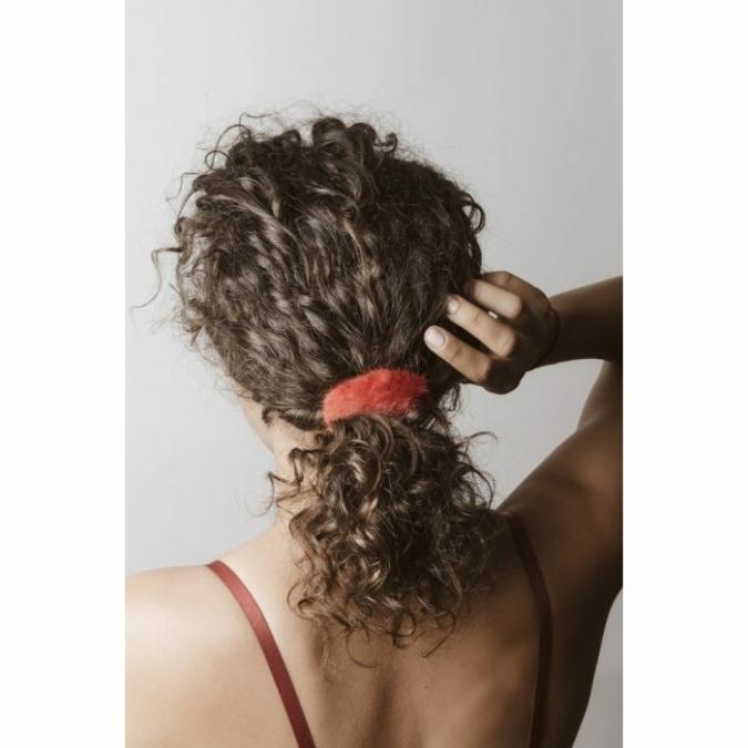 füzy FUR szőrme hajgumi, szín: red, piros